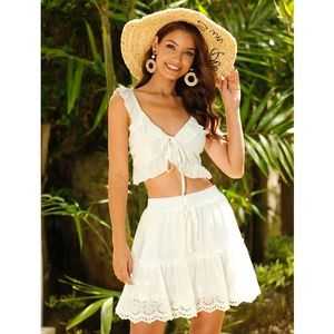 White Skirt Set Ruffle Crop Top and A Flared Skirt